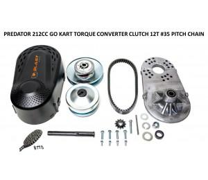 "Predator 212CC GO Kart Torque Converter Clutch 35 Pitch 12 Tooth 19.05mm 3/4"" Bore + 5 FEET #35 Pitch Chain & 12T #35 Sprocket"