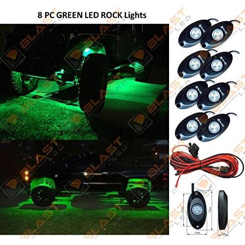 GREEN LED ROCK LIGHTS