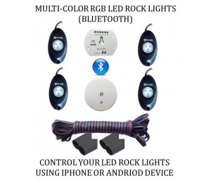 COLOR CHANGING LED ROCK LIGHT - BLUETOOTH RGB CONTROLLER - 4PC